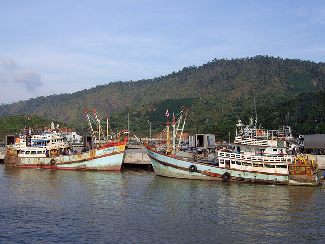 Thai Fisher boats on the pier
