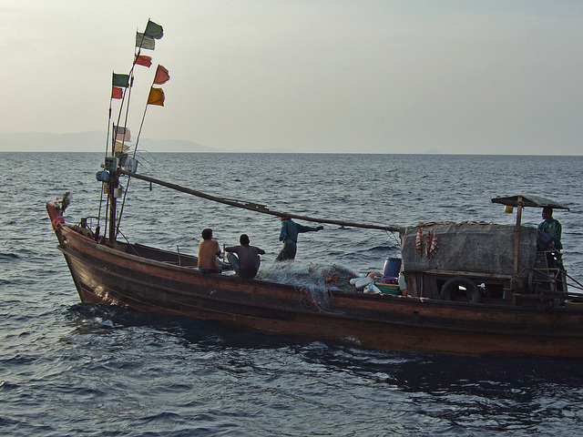 Fishing boat on open water near Kaw Thong
