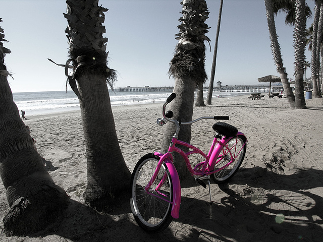 Pink Bike on San Clemente Beach (7061)