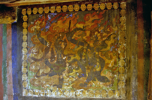 Wall painting inside the Gompa