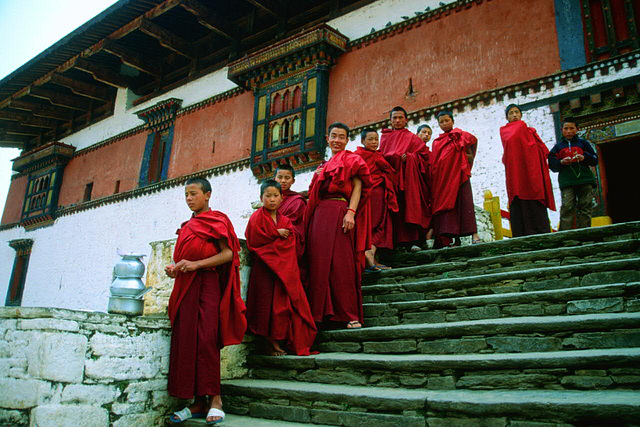Monks in front the Rinpung Dzong in Paro