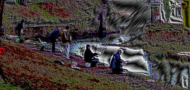 Angler am alten Flusshafen / Fisherman