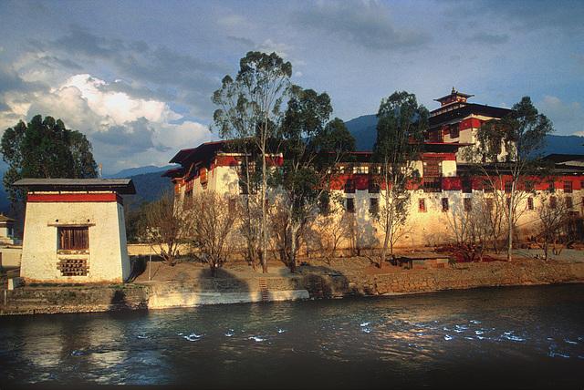 Punakha Dzong in the sunset light