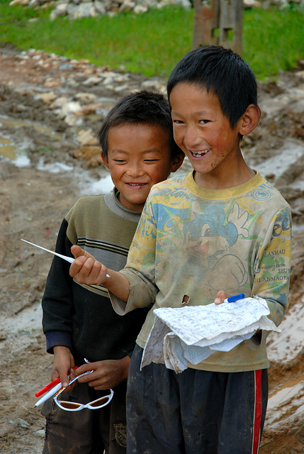 Tibetan boys in the village