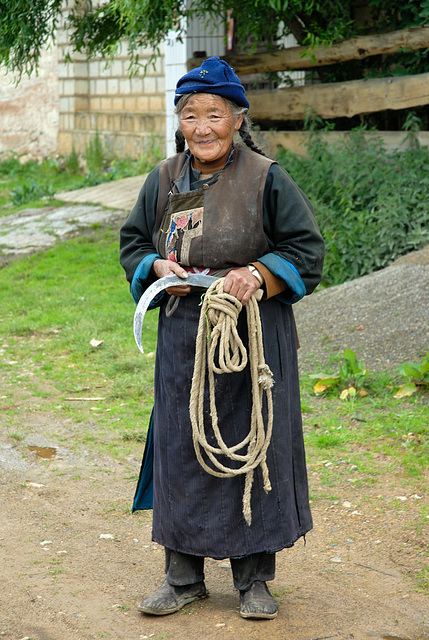 Tibetan woman in a village near Zhongdian