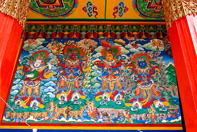 Wall paintings inside the Songzanlin Monastery