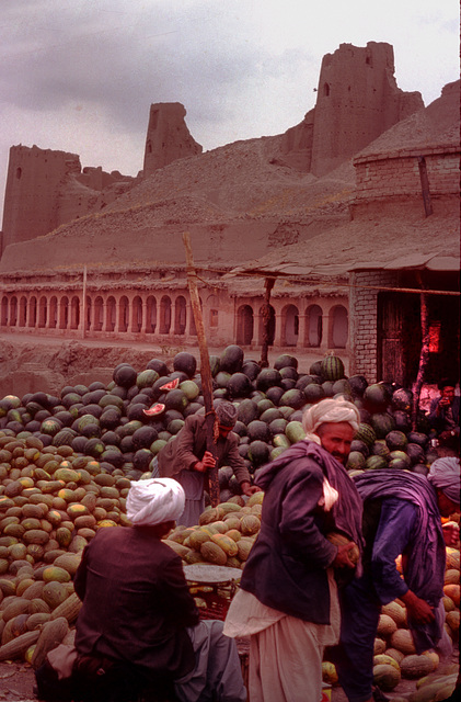 Watermelons sold out in front of the citadel