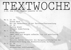 Flyer Textwoche in der Fahrradhalle 1995