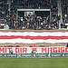Panoramafoto FC St. Pauli, Südkurve mit Blockfahne beim Spiel gg. Greuther Fürth