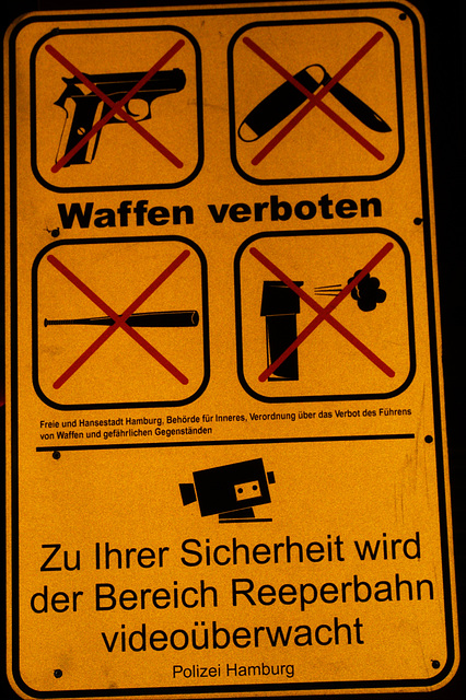 Weapons forbidden