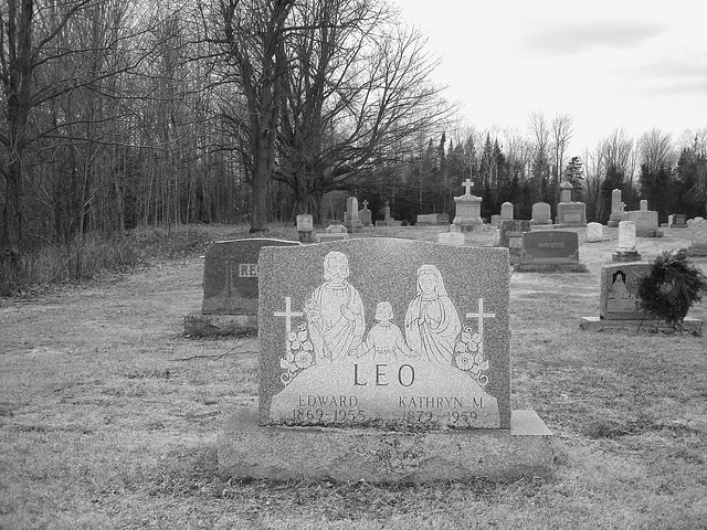Immaculate heart of Mary cemetery - Churubusco. NY. USA.  March  29th 2009 -  B & W