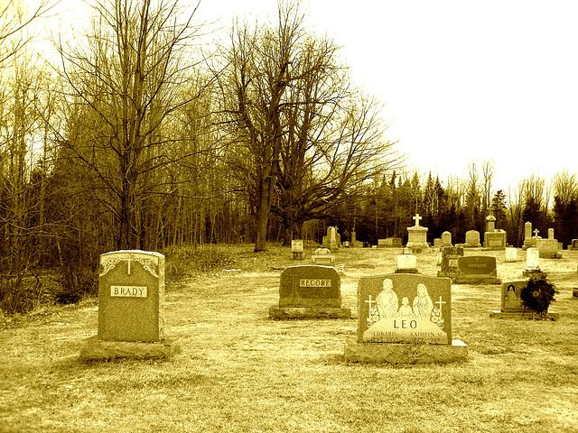 Immaculate heart of Mary cemetery - Churubusco. NY. USA.  March  29th 2009 - Sepia fort