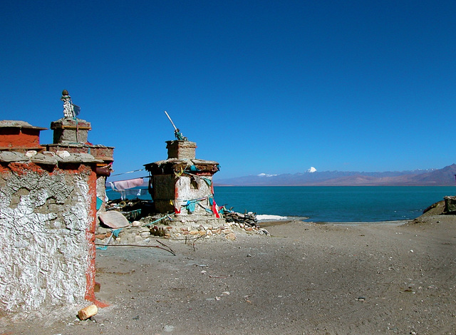 Stupas at the Seralung Gompa entrance