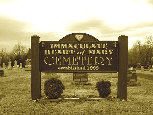 Immaculate heart of Mary cemetery - Churubusco. NY. USA.  March  29th 2009-  Sepia