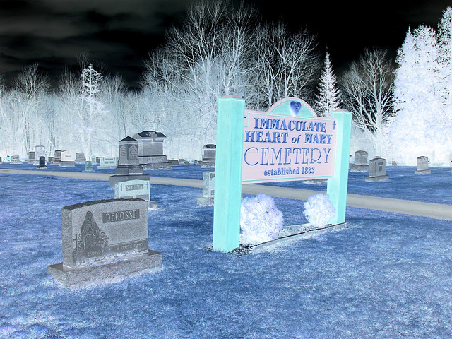 Immaculate heart of Mary cemetery - Churubusco. NY. USA.  March  29th 2009-  En négatif