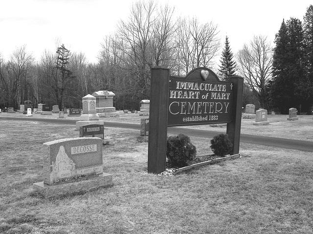 Immaculate heart of Mary cemetery - Churubusco. NY. USA.  March  29th 2009-  B & W