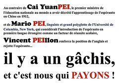 Vincent Peillon, Mario Pei, Cai Yuanpei, anglais, espéranto