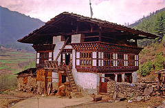 Traditional Bhutanese farm house