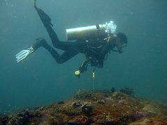 Diving in the depth of 40 meters