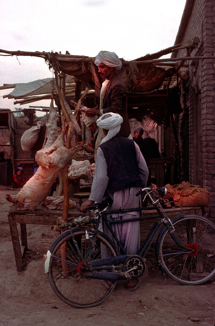 Butcher selling mutton