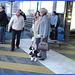 Dame blonde du bel âge en bottes de Dominatrice avec son toutou - Blonde mature in Dominatrix Boots with her dog- 19-10-2008 -  Aéroport de Bruxelles .