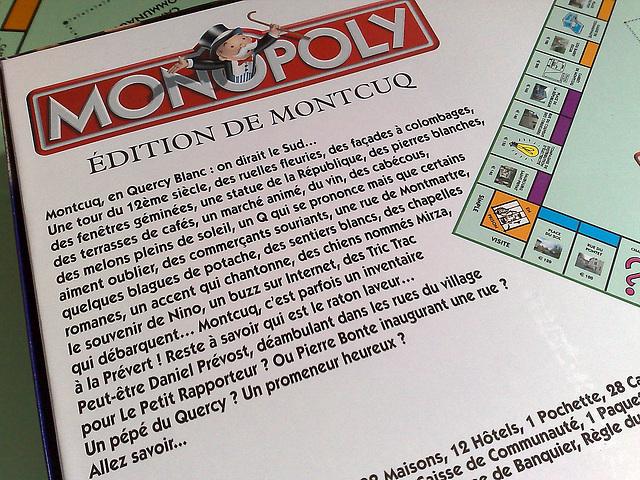 Monopoly Montcuq : le dos de la boîte