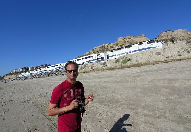 Dan & Metrolink On San Clemente Beach (7081)