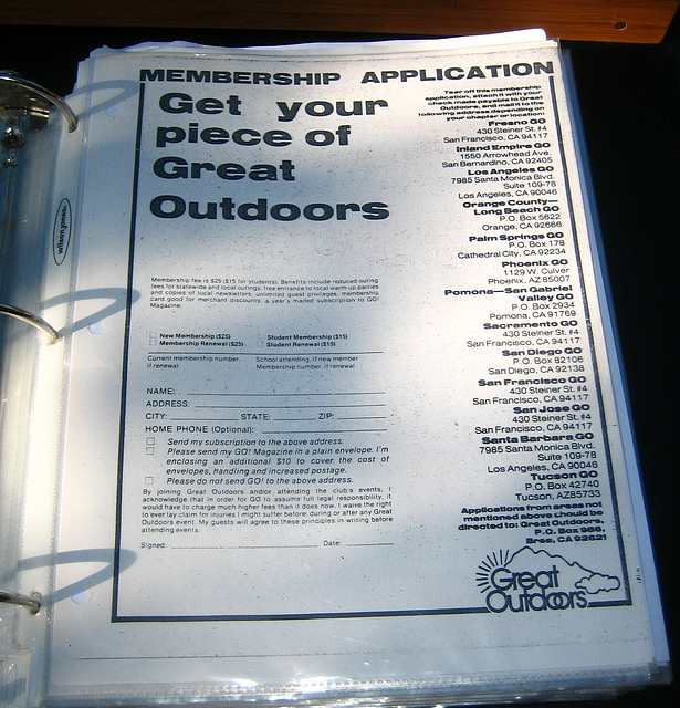 Old Great Outdoors Membership Form (9150)