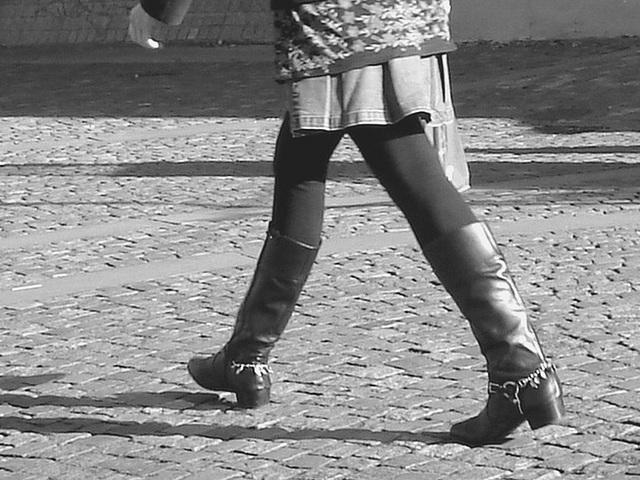 Bankomat Lady in mini denim skirt and Dominatrix SS boots style - Ängelholm / Sweden-  October 23th 2008- B & W