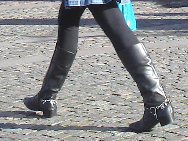 Bankomat Lady in mini denim skirt and Dominatrix SS boots style - Ängelholm / Sweden-  October 23th 2008