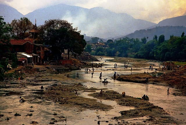 The dried Bagmati river