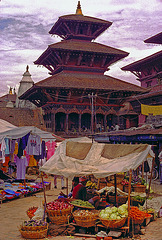 Market in front of the pagoda in Patan