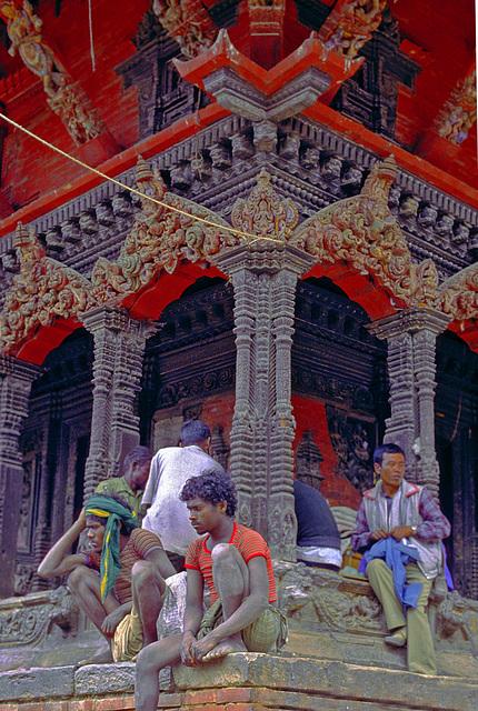 Scene at a pagoda in Kathmandu