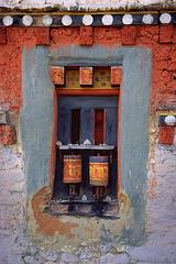 Prayer wheels at Jampey Lhakhang monastery