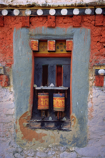 Prayer wheels at Jampey Lhakhang monastery