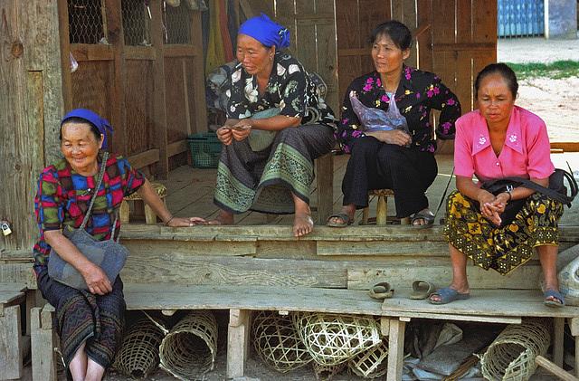 Laotian women at the veranda