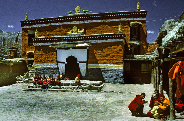 In the yard of the Namgyal Gompa