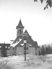 Abbaye St-Benoit-du-lac  /   St-Benoit-du-lac  Abbey -  Quebec, CANADA / 7 février 2009 - B & W  / Noir & blanc.