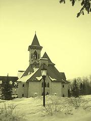 Abbaye St-Benoit-du-lac  /   St-Benoit-du-lac  Abbey -  Quebec, CANADA  /  7 février 2009 - Photo ancienne  / Vintage photofiltré.