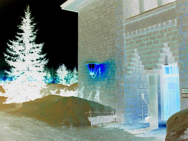 Abbaye St-Benoit-du-lac  /   St-Benoit-du-lac  Abbey -  Quebec, CANADA  -  February 7th 2009 - Effet de négatif  /  Negative artwork