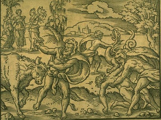Hercule et Achelous, gravure de Virgil Solis