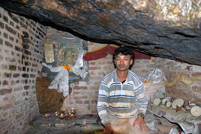 Inside the cave at the Shikha Narayan Temple