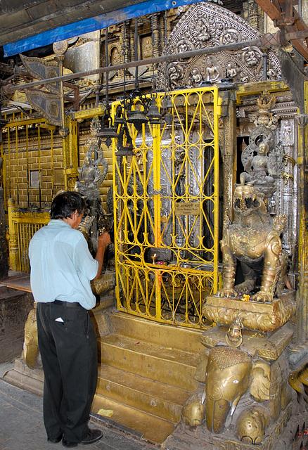 In front of the Hiranya Varna Mahaa Vihar Temple in Patan
