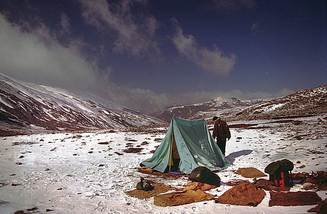 Pack back in the tent and raise our sleeping bags