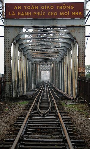 Railway bridge across the red river