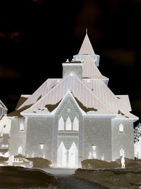 Abbaye / Abbey - St-Benoit-du-lac  /  Québec- CANADA - Février 2009 -  Effet de négatif