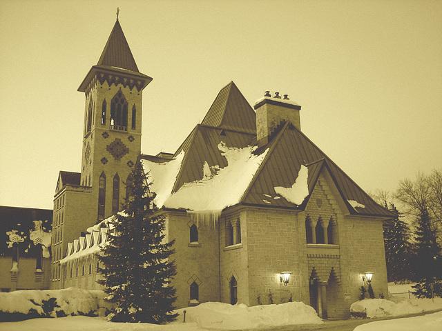 Abbaye / Abbey - St-Benoit-du-lac  /  Québec- CANADA - Février 2009 - Sepia