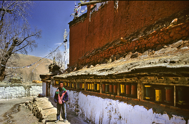 Prayer wheels outside the Ghar Gompa