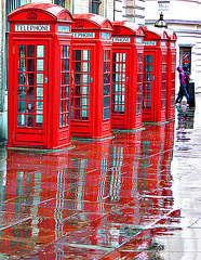 Five kiosks - ringing in the rain!
