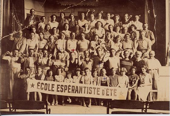 """Somera Esperanto-Lernejo en La Tranche-sur-Mer"""", ĉirkaŭ 1936."""""""